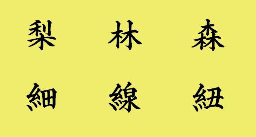 賞状筆耕時は全体の文字バランスを優先して、きへんや糸偏はこのように揮毫します。