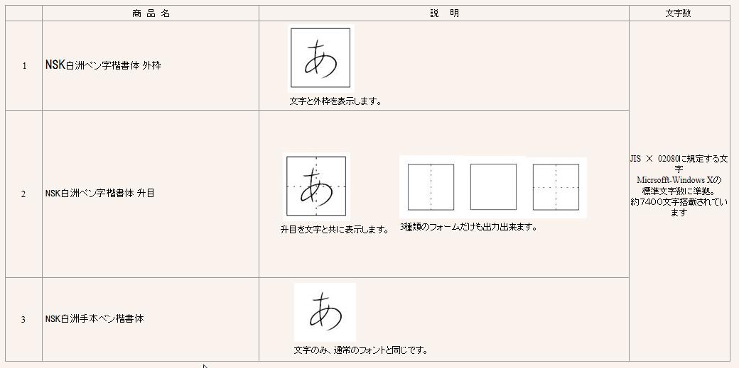 NSK白洲ペン字手本の種類jpg